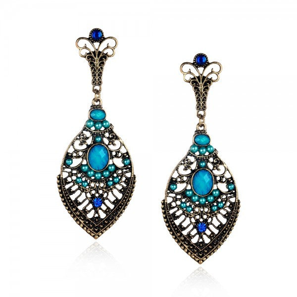Leaf Turquoise Inlay Blue Women Drop Earrings