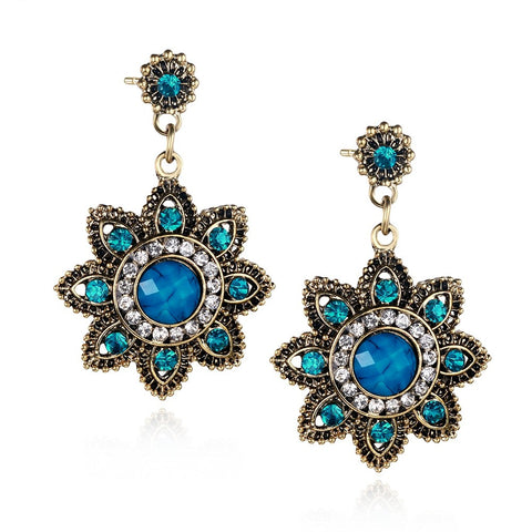 Flower Emerald Turquoise Women Drop Earrings