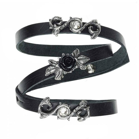 Black Rose Design Multilayer Adjustable Leather Wriststrap Bracelet