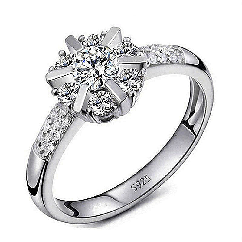 Halo Princess Cut Silver Engagement Ring