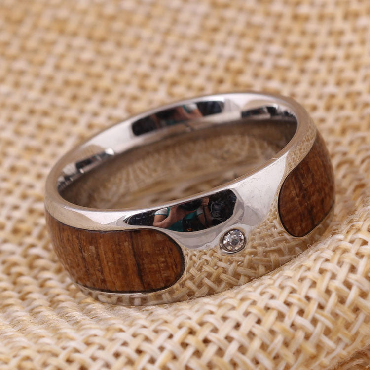 Personalized Wood Inlay Titanium Ring for Men