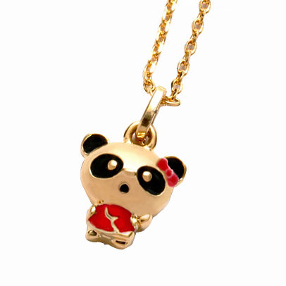 Gold Plated Cute Panda Necklace