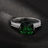 The Round Square Emerald Diamond Ring