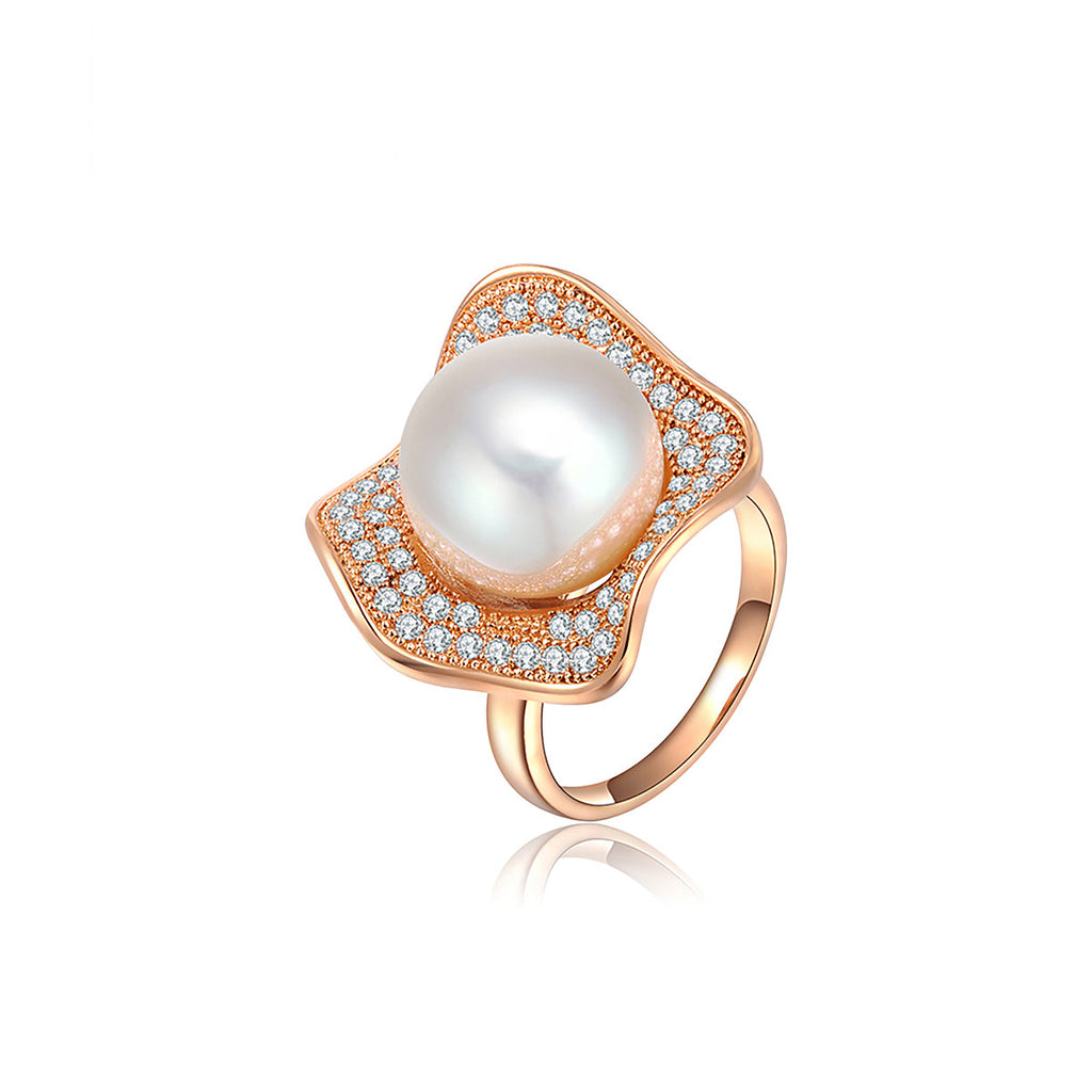 Rose Gold Flower Pearl Ring