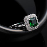White Green Diamond Ring