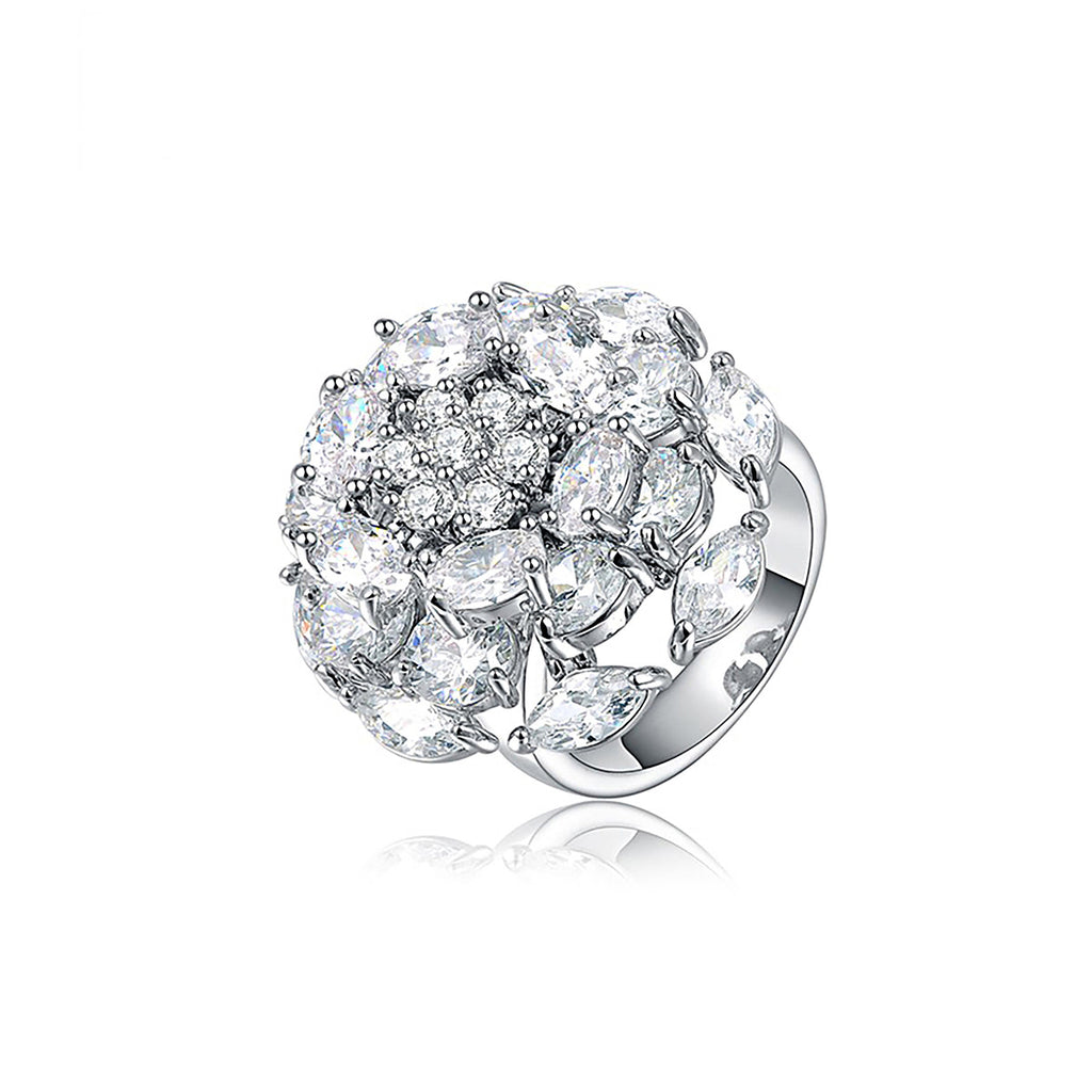 Platinum Plated Luxury Flower Diamond Ring