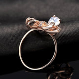 Rose Gold Bowknot Droplets Diamond Ring