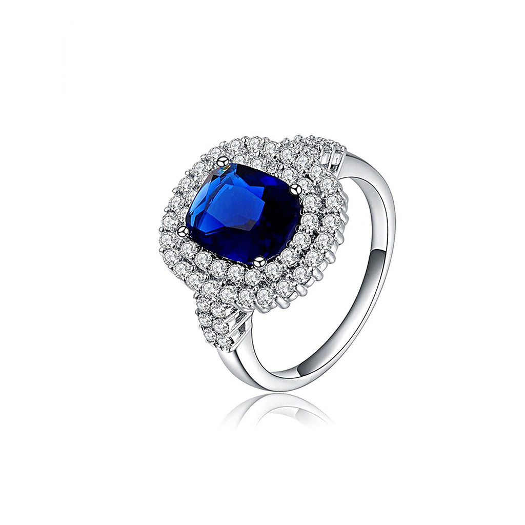Platinum Plated Sapphire Drill Double Diamond Ring