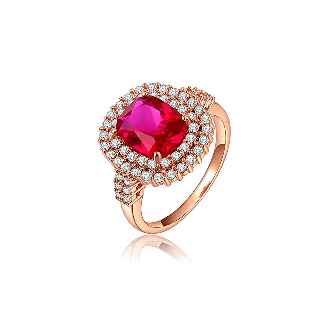 Rose Gold Red Drill Double Diamond Ring Evermarker