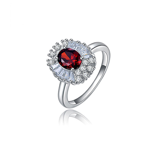 Platinum Plated Ruby Zircon Ring