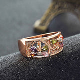 Rose Gold Diamond Floral Statement Ring