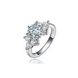 Platinum Plated Cubic Zircon Engagement Ring