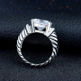 Platinum Plated Sudoku Drill Zircon Ring