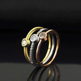Tricolor Single Diamond Ring Set