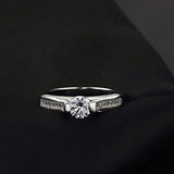 Platinum Plated Zircon Diamond Engagement Ring