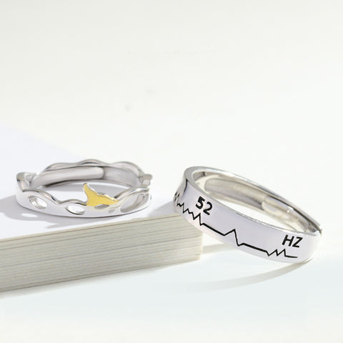 52-hertz Whale Design |Waiting For You Only| 925 Sterling Silver Couple Rings (Adjustable Size)