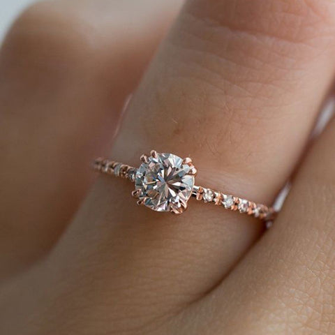 Round Cut Rose Gold Engagement Ring Mother's Day Special Offer