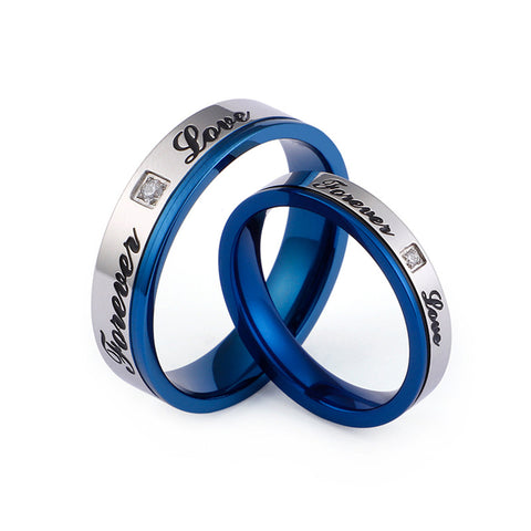 Forever Love Zircon Inlaid Blue Stainless Steel Couple Rings
