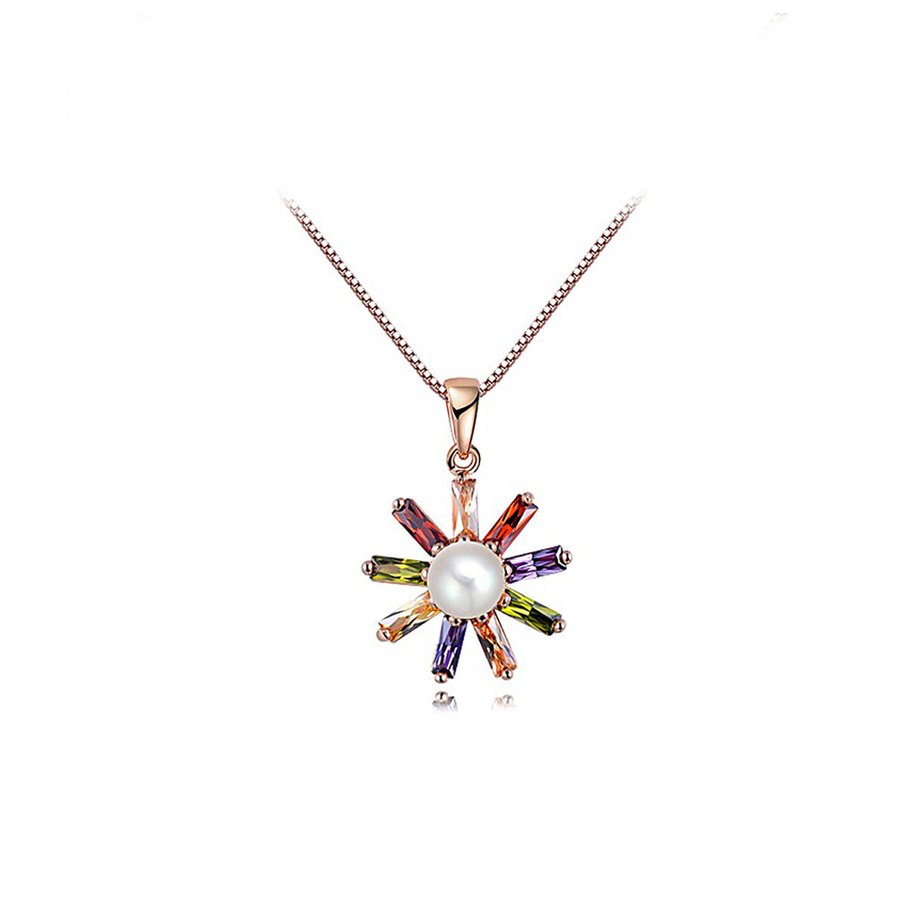 Rose Gold Colorized Zircon Pearl Pendant Necklace