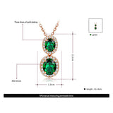 Double Emerald Zircon Pendant Necklace