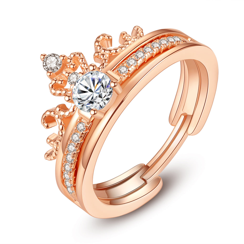 Crown Shaped Inlaid Zircon 925 Sterling Silver Engagement Ring Set
