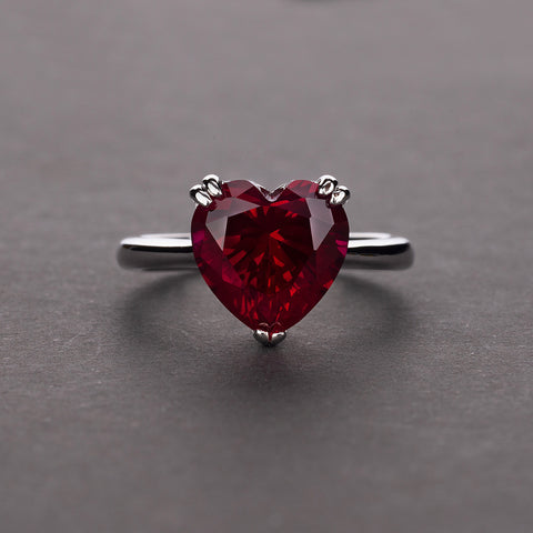 Created Diamond Heart Shaped 925 Sterling Silver Engagement Ring
