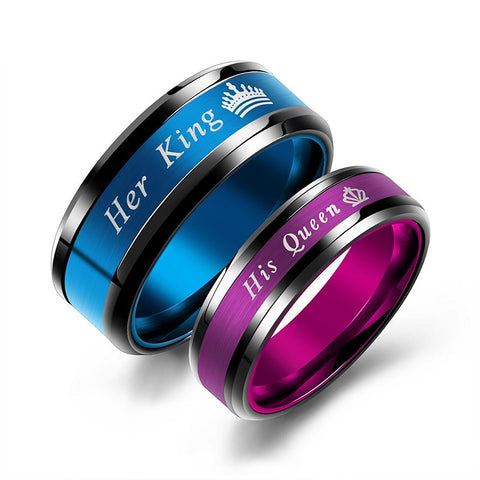 His Queen and Her King Titanium Steel Couple Rings