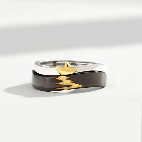 Wind Shakes the Barley 925 Silver Couple Rings (Adjustable Size)