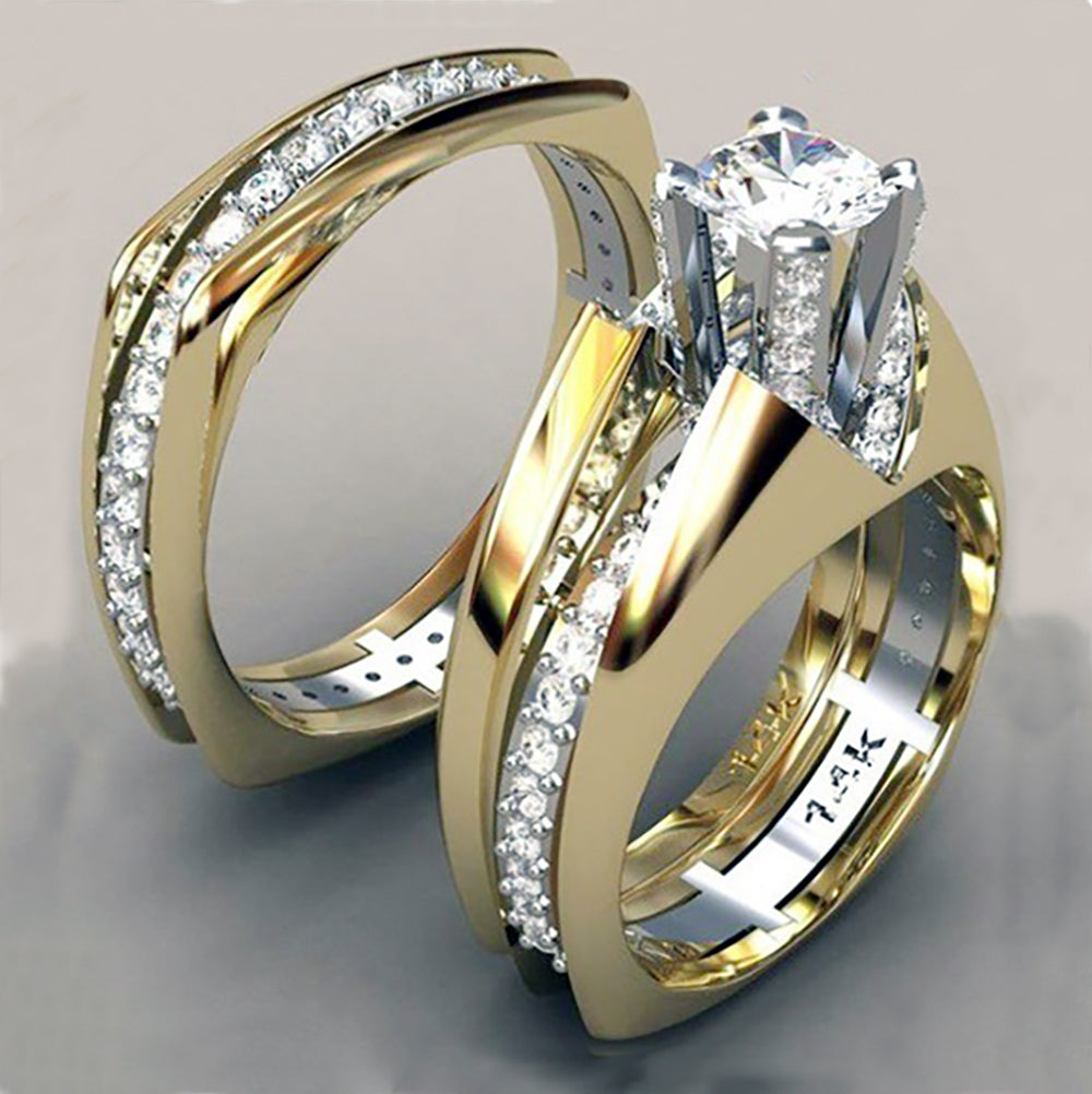 Created Diamond Gold and Silver Engagement Ring Set