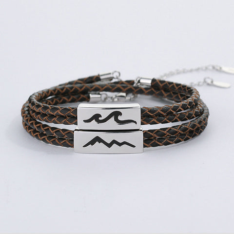 Eternal Loyalty| Mountain and Sea Silver Couple Bracelets