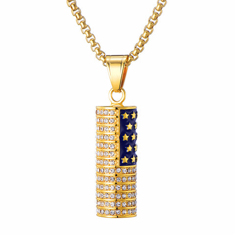 Stars and Stripes| Stainless Steel Zircon Inlaid Gold Plated Pendant Necklace