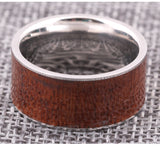 Personalized Plain Titanium Steel Ring With Wood Inlay