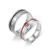 """I love you"" Black and Red Crystal Glue Stainless Steel Couple Rings"