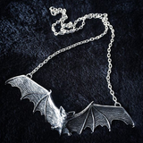 Classic Swooping Bat Shape Pewter Necklace with Spreadeagled Wings