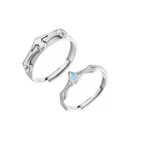 Princess and Knight 925 Silver Couple Rings (Adjustable Size)