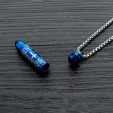 Titanium Steel Bullet Cross Men's Casket Necklace