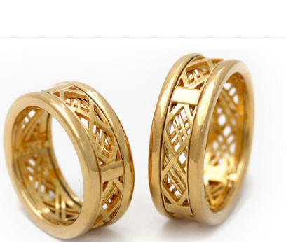 Matching Layered Texture Gold Ring Set