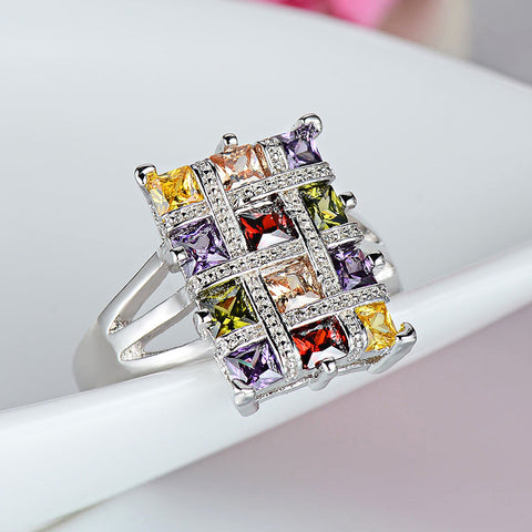 Colorful Diamonds Statement Ring for Women