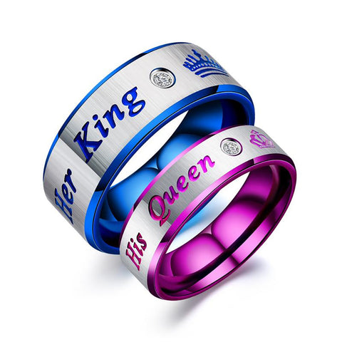 Her King and His Queen Stainless Steel Couple Rings