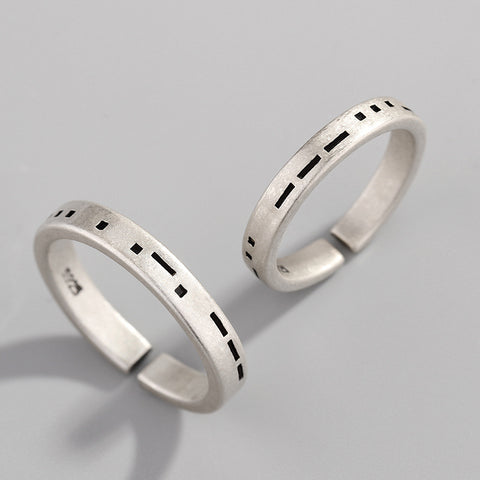 Vintage Forever Love Moss Code 925 Sterling Silver Couple Rings (open size)