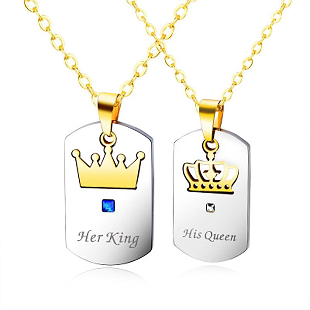 Her King and His Queen Stainless Steel Couple Pendant Necklace