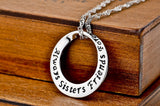 "925 Sterling Silver ""always sister"" Stamped Pendant Necklace"