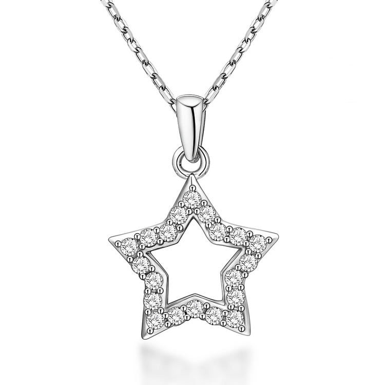 Fashion Star Pattern 925 Sterling Silver Necklace with Zircons
