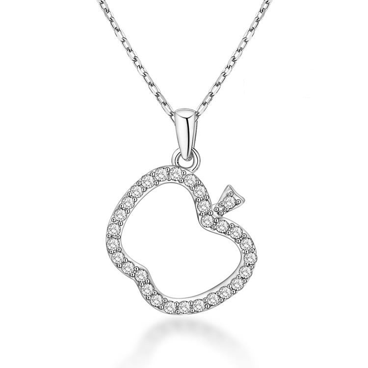 Fashion Apple-shaped 925 Sterling Silver Necklace with Zircons