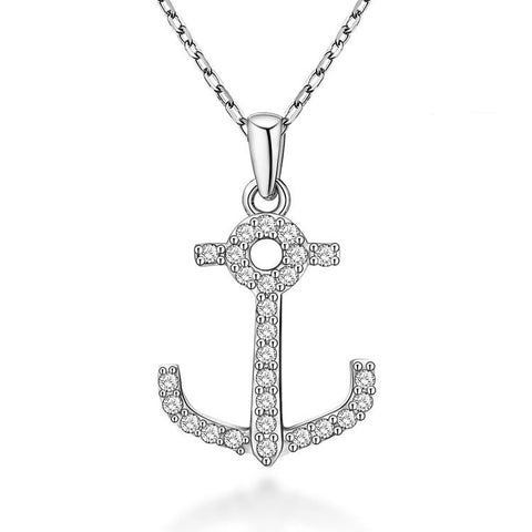 Classic Anchor Pattern 925 Sterling Silver Necklace with Zircons