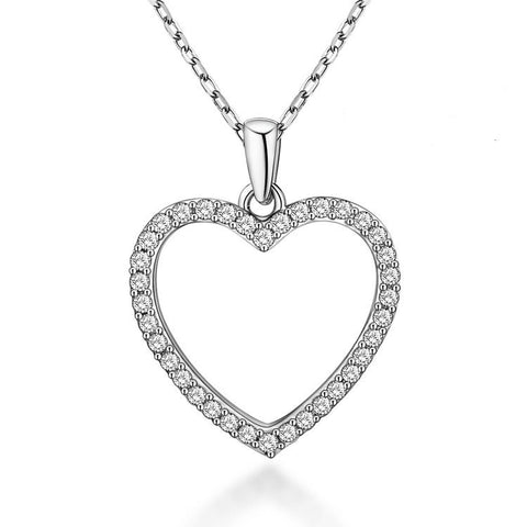 Fashion Heart-shaped 925 Sterling Silver Necklace with Zircons