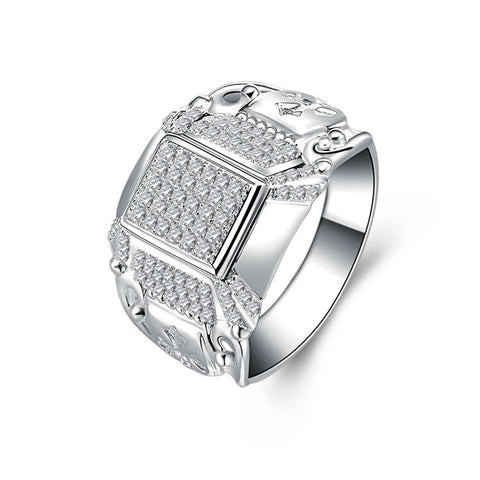 Classic Triple Quadrate Zircon Blocks Pattern 925 Sterling Silver Statement Ring