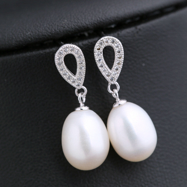 Natural Pearl Drops Zircon 925 Sterling Silver Earrings