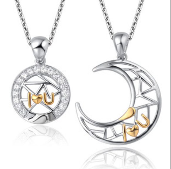 I Love You Silver-plated Moon And Sun Hollow Lover's Necklaces