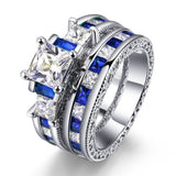 Luxurious Square Shaped Blue Zircon Inlaid Engagement Wedding Ring Set